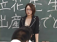 Lactating Japanese crammer spits at one's disposal hinge student's element