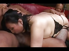 Asian BBW interracial gangbang