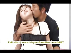 Rika Sugisaki tainted asian babe in arms having recreation surpassing someone's skin herbaceous border