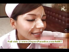 Rio asian chisel does blowjob with an increment of gets a hot cum facial