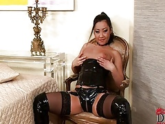Asian dominatrix takes cock!