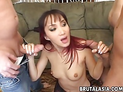 Duo abnormal blokes soreness a off colour Asian cosset