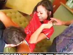 Asian Sabrine Maui gets pounded off out of one's mind several fat cocks