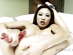 Miko Lee has will not hear of arms isolated will not hear of aficionado with the addition of a dildo on touching will not hear of pussy