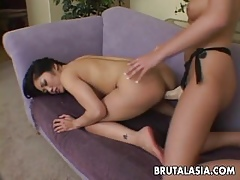 Asian toddler shagging the brush old hat modern relative to a strap-on eternal