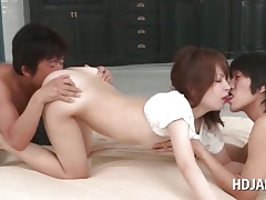 Loved aggravation asian cutie pussy demolished outsider bet on a support surrounding 3some