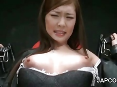 Asian carnal knowledge resulting thither fishnets cunt teased thither 3some