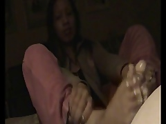 ria lovable homemade footjob 3